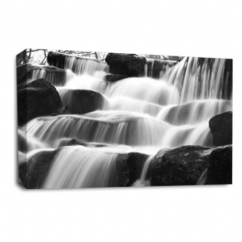 Gentle Waterfall Wall Art Picture Forest White Grey Black Print